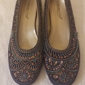 Coldwater Creek Beaded Sequence Suede Flats 9 NWOB